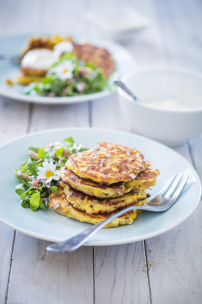 Savoury Fritters of corn with a fresh salad
