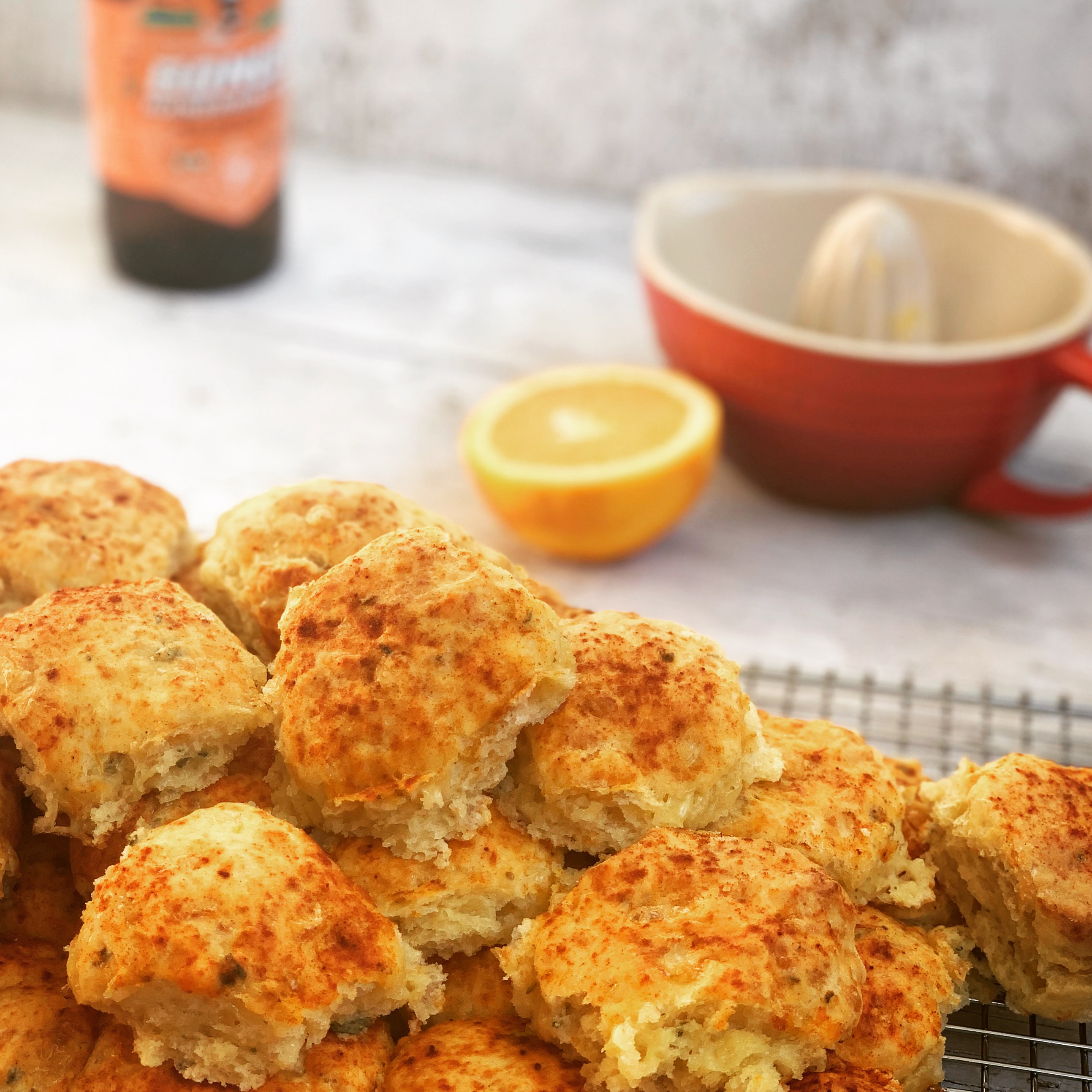 beer and orange scones, golden and flavoured with orange and sage